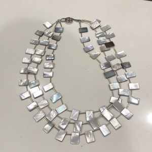 Jewelry - Mother of pearl tab three tier necklace